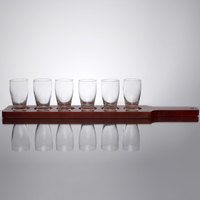 Core Beer Flight Set - 6 Barbary Sampler Glasses with Red Brown Finish Wood Paddle