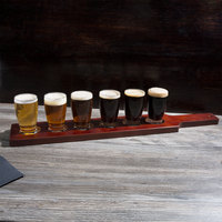 Acopa Tasting Flight Set - 6 Barbary Sampler Glasses with Red-Brown Wood Taster Paddle