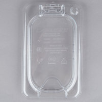 Carlisle 10339Z07 StorPlus EZ Access 1/9 Size Clear Polycarbonate Hinged Lid with One Notch