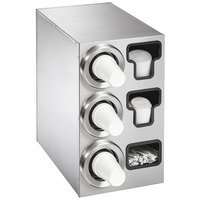Vollrath 58842 Stainless Steel 3-Slot 8 - 44 oz. Countertop Cup Dispenser Cabinet with 2 T-Lid Holders and 1 Straw Pocket