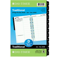 Day-Timer 92010 5 1/2 inch x 8 1/2 inch White / Green Two-Page-Per-Day 2020 Planner Refill