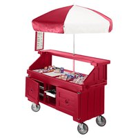 Cambro CVC724158 Camcruiser Hot Red Customizable Vending Cart with Umbrella and 4 Counter Wells