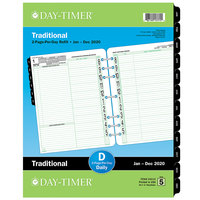 Day-Timer 94010 8 1/2 inch x 11 inch White / Green Two-Page-Per-Day 2020 Planner Refill