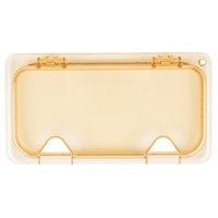 Carlisle 10480Z13 StorPlus EZ Access 1/3 Size Amber High Heat Hinged Lid with Two Notches