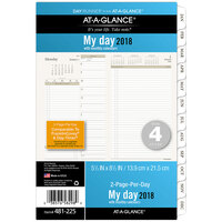 Day Runner 481225 5 1/2 inch x 8 1/2 inch Two-Pages-Per-Day Planning Pages 2018 Planner Refill