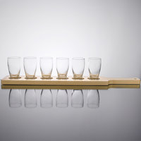 Core Beer Flight Set - 6 Barbary Sampler Glasses with Natural Finish Wood Paddle