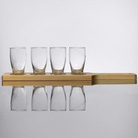 Core Beer Flight Set - 4 Barbary Sampler Glasses with Natural Finish Wood Paddle