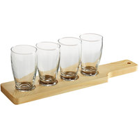 Acopa 14 1/2 inch Natural Flight Paddle with Barbary Tasting Glasses