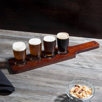 Acopa Tasting Flight Set - 4 Barbary Sampler Glasses with Red-Brown Wood Taster Paddle