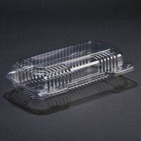 Dart Solo C18UT1 StayLock 8 1/2 inch x 4 1/2 inch x 2 1/8 inch Clear Hinged Plastic Small Oblong Container - 250 / Case