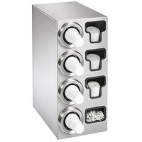 Vollrath 58843 Stainless Steel 4-Slot 8 - 44 oz. Countertop Cup Dispenser Cabinet with 1 T-Lid Holder and 1 Straw Pocket
