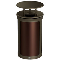 Rubbermaid 1970220 Enhance 15 Gallon Dark Cherry Trash Can with Rainhood and Bronze Frame
