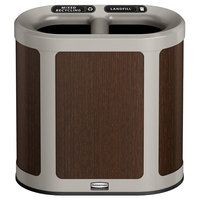 Rubbermaid 1970038 Enhance 7 Gallon Mocha Trash Can with Two Stream Lid and Pearl Mouse Gray Frame