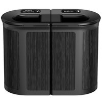 Rubbermaid 1970207 Enhance 46 Gallon Ebony Pill Trash Can with Two Stream Lid and Jet Black Frame