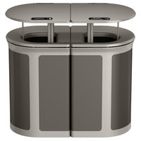 Rubbermaid 1970300 Enhance 46 Gallon Umbra Gray Trash Can with Two Stream Lid, Rainhood, and Pearl Mouse Gray Frame
