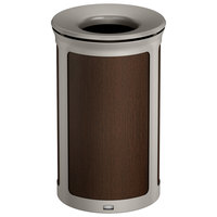 Rubbermaid 1970158 Enhance 15 Gallon Mocha Round Trash Can with Pearl Mouse Gray Frame