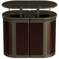 Rubbermaid 1970306 Enhance 46 Gallon Dark Cherry Trash Can with Two Stream Lid, Rainhood, and Bronze Frame