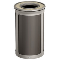 Rubbermaid 1970152 Enhance 15 Gallon Umbra Gray Round Trash Can with Ash Tray and Pearl Mouse Gray Frame
