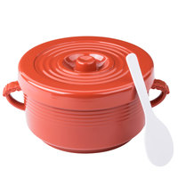 64 oz. Red Insulated Plastic Handled Rice Container with Lid and Spoon