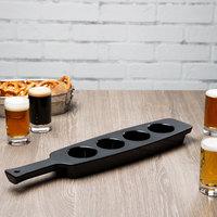 Libbey 96458 18 3/4 inch x 4 1/8 inch Four-Hole Matte Black Melamine Beer Flight Sampler Paddle - 6/Case