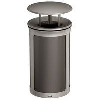 Rubbermaid 1970209 Enhance 15 Gallon Umbra Gray Round Trash Can with Rainhood and Pearl Mouse Gray Frame