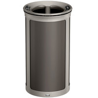 Rubbermaid 1970268 Enhance 33 Gallon Umbra Gray Round Trash Can with Two Stream Lid and Pearl Mouse Gray Frame