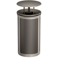 Rubbermaid 1970266 Enhance 33 Gallon Umbra Gray Round Trash Can with Rainhood and Pearl Mouse Gray Frame