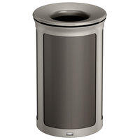 Rubbermaid 1970130 Enhance 15 Gallon Umbra Gray Round Trash Can with Pearl Mouse Gray Frame