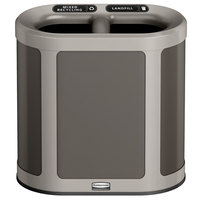 Rubbermaid 1970034 Enhance 7 Gallon Umbra Gray Pill Trash Can with Two Stream Lid and Pearl Mouse Gray Frame