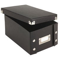 Snap-N-Store SNS01577 6 3/8 inch x 9 inch x 4 1/4 inch Black Collapsible Index Card File Box