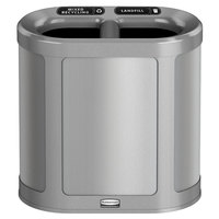 Rubbermaid 1970036 Enhance 7 Gallon Brushed Stainless Pill Trash Can with Two Stream Lid and Stardust Silver Frame