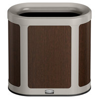 Rubbermaid 1970037 Enhance 7 Gallon Mocha Pill Trash Can with Pearl Mouse Gray Frame