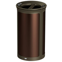 Rubbermaid 1970290 Enhance 33 Gallon Dark Cherry Round Trash Can with Two Stream Lid and Bronze Frame