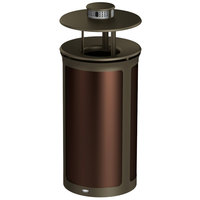 Rubbermaid 1970289 Enhance 33 Gallon Dark Cherry Round Trash Can with Ash Pod, Rainhood, and Bronze Frame