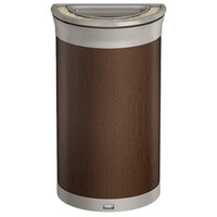 Rubbermaid 1970084 Enhance 7.5 Gallon Mocha Half Round Trash Can with Ash Tray and Pearl Mouse Gray Frame