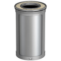 Rubbermaid 1970156 Enhance 15 Gallon Brushed Stainless Round Trash Can with Ash Tray and Stardust Silver Frame