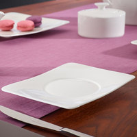 Villeroy & Boch 10-4510-1280 Modern Grace 6 1/2 inch x 5 1/2 inch White Bone Porcelain Saucer - 6/Case