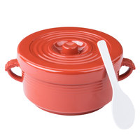 72 oz. Red Plastic Handled Rice Container with Lid and Spoon