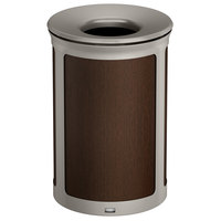 Rubbermaid 1970172 Enhance 23 Gallon Mocha Round Trash Can with Pearl Mouse Gray Frame
