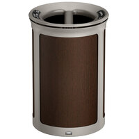 Rubbermaid 1970174 Enhance 23 Gallon Mocha Round Trash Can with Two Stream Lid and Pearl Mouse Gray Frame