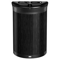 Rubbermaid 1970121 Enhance 11.5 Gallon Ebony Half Round Trash Can with Two Stream Lid and Jet Black Frame