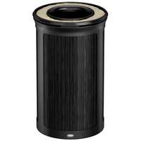 Rubbermaid 1970164 Enhance 15 Gallon Ebony Round Trash Can with Ash Tray and Jet Black Frame