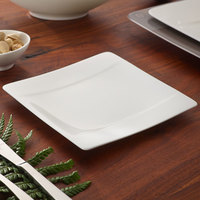 Villeroy & Boch 10-4510-2660 Modern Grace 6 1/4 inch x 6 1/4 inch White Bone Porcelain Square Bread and Butter Plate - 6/Case
