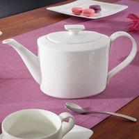 Villeroy & Boch 10-4510-0460 Modern Grace 40.5 oz. White Bone Porcelain Teapot with Cover - 6/Pack