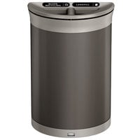 Rubbermaid 1970112 Enhance 11.5 Gallon Umbra Gray Half Round Trash Can with Two Stream Lid and Pearl Mouse Gray Frame