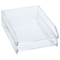 Kantek AD15 10 1/2 inch x 13 3/4 inch x 2 1/2 inch Clear 2 Section Acrylic Letter Tray
