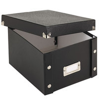 Snap-N-Store SNS01647 8 3/8 inch x 9 inch x 5 1/4 inch Black Collapsible Index Card File Box