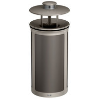 Rubbermaid 1970267 Enhance 33 Gallon Umbra Gray Round Trash Can with Ash Pod, Rainhood, and Pearl Mouse Gray Frame