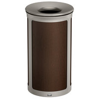 Rubbermaid 1970194 Enhance 33 Gallon Mocha Round Trash Can with Pearl Mouse Gray Frame