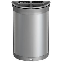 Rubbermaid 1970115 Enhance 11.5 Gallon Brushed Stainless Half Round Trash Can with Two Stream Lid and Stardust Silver Frame